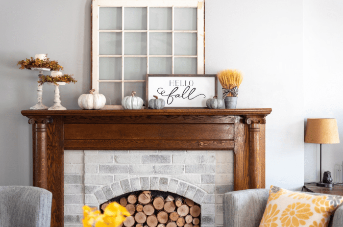 Fall Fireplace staging