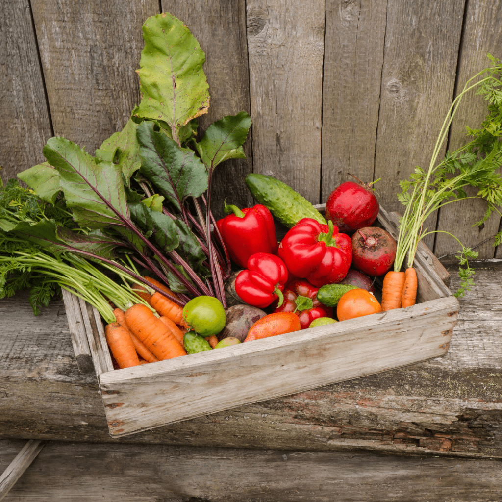 vegetables in a wooden crate